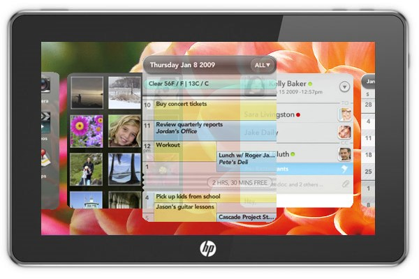 HP webOS tablet slate1 HP stops Android tablet development leaving webOS as the likely Slate operating system