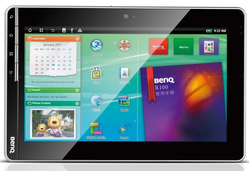 BenQ R100 front e1299848713179 BenQ R100 Customized 10 inch Android Tablet Available Now In China
