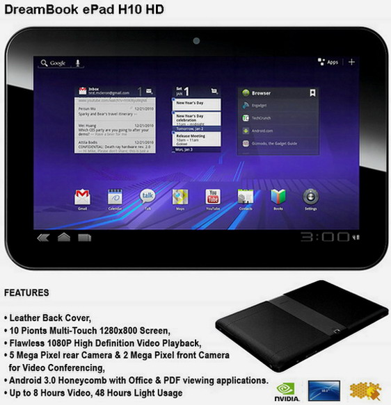 Pioneer DreamBook ePad H10 HD Android Honeycomb tablet Dual core Pioneer DreamBook Android Honeycomb tablet announced